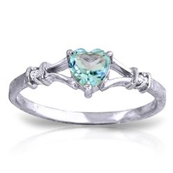 ALARRI 0.47 CTW 14K Solid White Gold Risk And Glory Blue Topaz Diamond Ring
