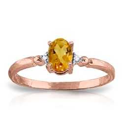ALARRI 0.46 CTW 14K Solid Rose Gold Young Love Citrine Diamond Ring