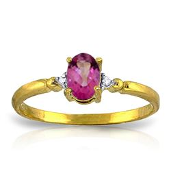 ALARRI 0.46 Carat 14K Solid Gold Ring Natural Diamond Pink Topaz