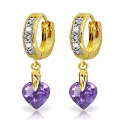 ALARRI 1.77 Carat 14K Solid Gold Monaco Amethyst Diamond Earrings