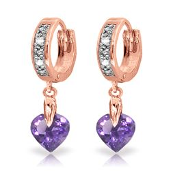 ALARRI 1.77 CTW 14K Solid Rose Gold Diamond Heart Amethyst Drop Hoops