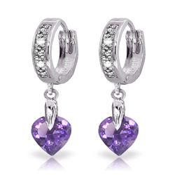 ALARRI 1.77 Carat 14K Solid White Gold Xanadu Amethyst Diamond Earrings