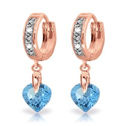ALARRI 1.77 Carat 14K Solid Rose Gold Diamond Heart Blue Topaz Drop Hoops