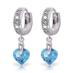 ALARRI 1.77 CTW 14K Solid White Gold Blue Topaz Diamond Earrings