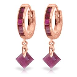 ALARRI 3.7 Carat 14K Solid Rose Gold Hoop Earrings Dangling Ruby
