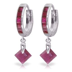 ALARRI 3.7 Carat 14K Solid White Gold Hoop Earrings Dangling Ruby