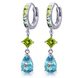 ALARRI 5.37 CTW 14K Solid White Gold Huggie Earrings Peridot Blue Topaz