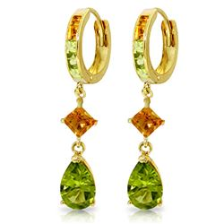 ALARRI 5.15 CTW 14K Solid Gold Huggie Earrings Dangling Peridot Citrine
