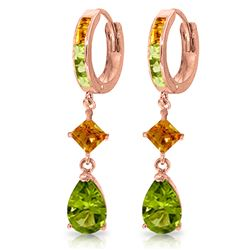 ALARRI 5.15 Carat 14K Solid Rose Gold Huggie Earrings Dangling Peridot Citrine
