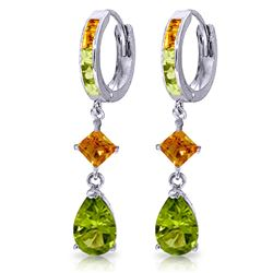 ALARRI 5.15 Carat 14K Solid White Gold Huggie Earrings Dangling Peridot Citrine