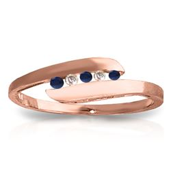 ALARRI 0.25 Carat 14K Solid Rose Gold Ring Channel Set Diamond Sapphire