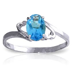 ALARRI 0.95 Carat 14K Solid White Gold Follow My Lead Blue Topaz Ring