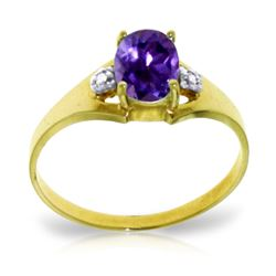 ALARRI 0.76 Carat 14K Solid Gold Bow To You Amethyst Diamond Ring
