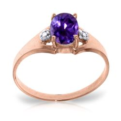 ALARRI 0.76 Carat 14K Solid Rose Gold Brilliance Amethyst Diamond Ring