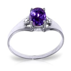 ALARRI 0.76 Carat 14K Solid White Gold Amethyst Diamond Ring
