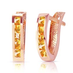 ALARRI 0.7 CTW 14K Solid Rose Gold Oval Huggie Earrings Citrine