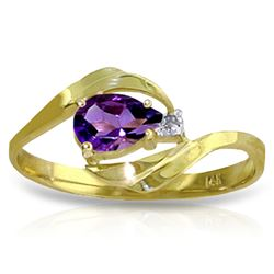ALARRI 0.41 CTW 14K Solid Gold Carry You In My Heart Amethyst Diamond Ring