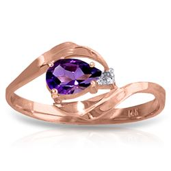 ALARRI 0.41 CTW 14K Solid Rose Gold Waves Amethyst Diamond Ring