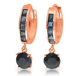 ALARRI 3.3 CTW 14K Solid Rose Gold Huggie Earrings Natural Sapphire