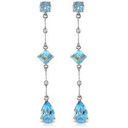 ALARRI 14K Solid White Gold Chandelier Earrings w/ Diamond & Blue Topaz