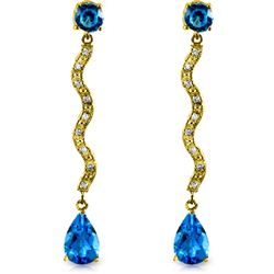 ALARRI 4.35 Carat 14K Solid Gold Earrings Diamond Blue Topaz