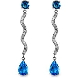 ALARRI 14K Solid White Gold Earrings w/ Diamonds & Blue Topaz
