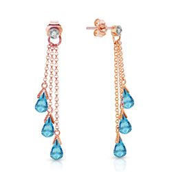 ALARRI 14K Solid Rose Gold Chandelier Earrings w/ Diamonds & Blue Topaz