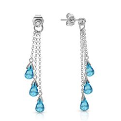 ALARRI 14K Solid White Gold Chandelier Earrings w/ Diamonds & Blue Topaz