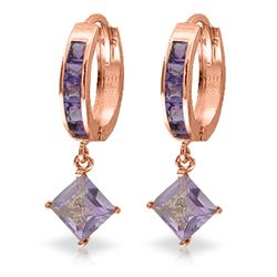 ALARRI 3.8 Carat 14K Solid Rose Gold Hoop Earrings Dangling Amethysts