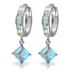 ALARRI 4.4 Carat 14K Solid White Gold Hoop Earrings Dangling Blue Topaz