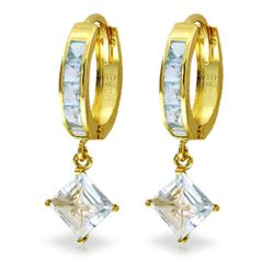 ALARRI 4 Carat 14K Solid Gold Hoop Earrings Dangling Aquamarine