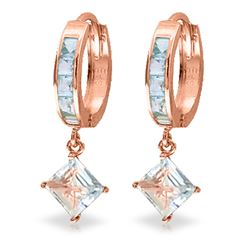 ALARRI 4 Carat 14K Solid Rose Gold Hoop Earrings Dangling Aquamarine