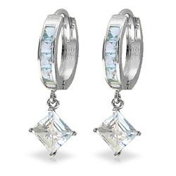 ALARRI 4 Carat 14K Solid White Gold Hoop Earrings Dangling Aquamarine
