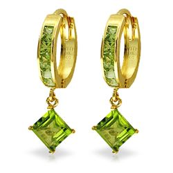 ALARRI 4 CTW 14K Solid Gold Hoop Earrings Dangling Peridot