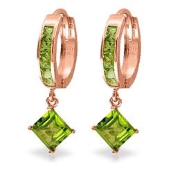 ALARRI 4 CTW 14K Solid Rose Gold Hoop Earrings Dangling Peridot