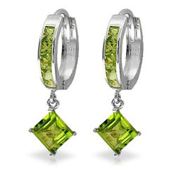 ALARRI 4 Carat 14K Solid White Gold Hoop Earrings Dangling Peridot
