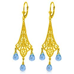 ALARRI 4.8 Carat 14K Solid Gold Chandelier Earrings Briolette Blue Topaz