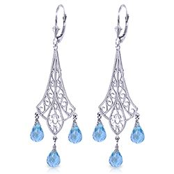 ALARRI 4.8 CTW 14K Solid White Gold Chandelier Earrings Briolette Blue Topaz