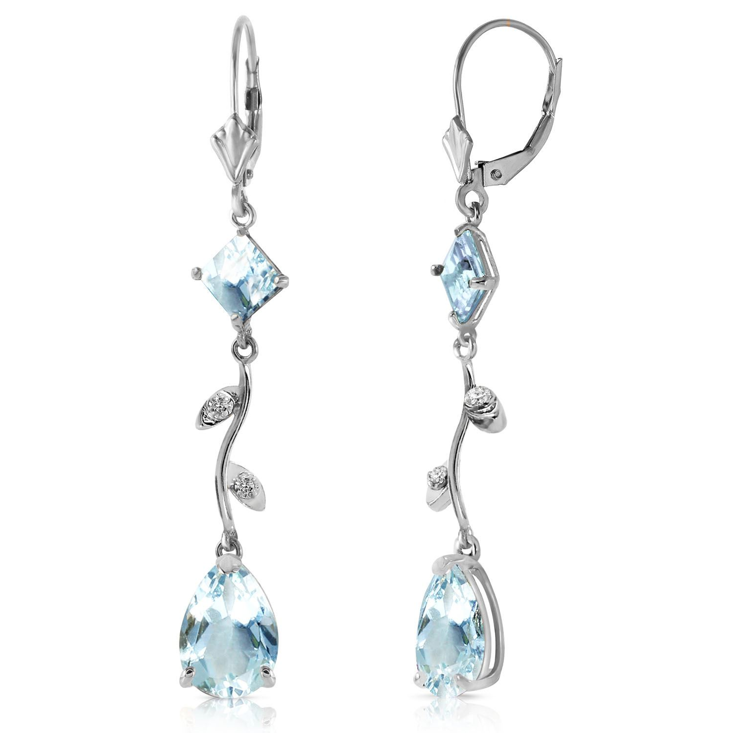Alarri 3 97 Carat 14k Solid White Gold Chandelier Earrings Natural Diamond Aquamar