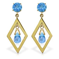 ALARRI 2.4 CTW 14K Solid Gold Euphoria Blue Topaz Earrings