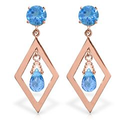 ALARRI 2.4 CTW 14K Solid Rose Gold Blue Topaz Dangling Earrings