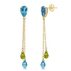 ALARRI 7.5 Carat 14K Solid Gold Chandelier Earrings Blue Topaz Peridot