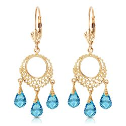ALARRI 3.75 Carat 14K Solid Gold Chandelier Earrings Blue Topaz