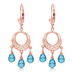ALARRI 3.75 Carat 14K Solid Rose Gold Chandelier Earrings Blue Topaz