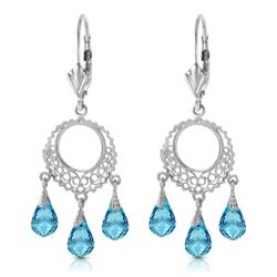 ALARRI 3.75 CTW 14K Solid White Gold Chandelier Earrings Blue Topaz