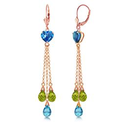 ALARRI 14K Solid Rose Gold Chandelier Earrings Briolette Blue Topaz & Peridots
