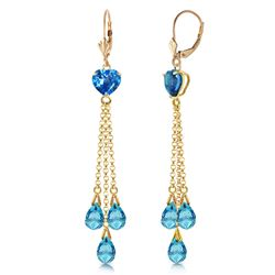 ALARRI 9.5 Carat 14K Solid Gold Chandelier Earrings Briolette Blue Topaz