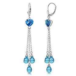 ALARRI 9.5 Carat 14K Solid White Gold Chandelier Earrings Briolette Blue Topaz