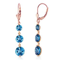 ALARRI 7.2 Carat 14K Solid Rose Gold Drop Earrings Round Blue Topaz