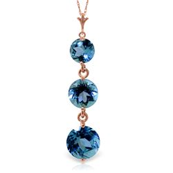 ALARRI 3.6 Carat 14K Solid Rose Gold Rainfall Blue Topaz Necklace